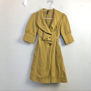 TopShop Mustard Ruffled Women's Pea Coat